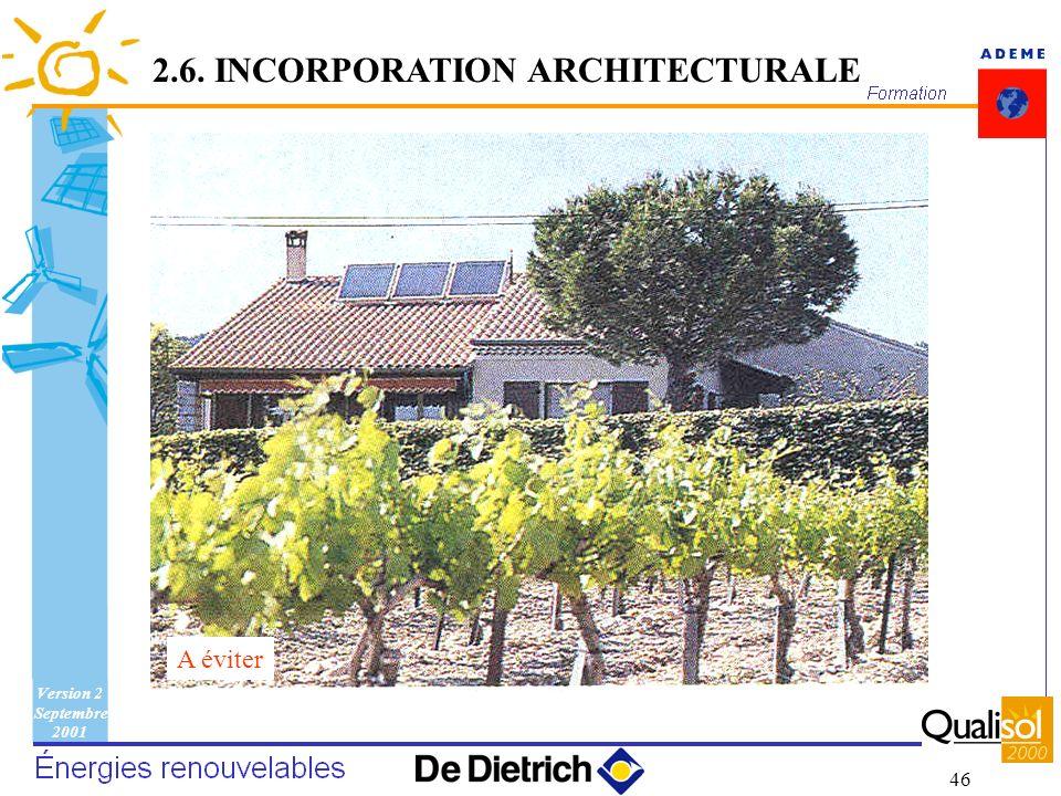 Version 2 Septembre 2001 46 A éviter 2.6. INCORPORATION ARCHITECTURALE