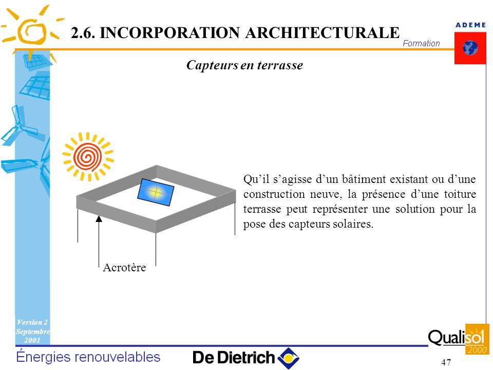 Version 2 Septembre 2001 47 Capteurs en terrasse 2.6. INCORPORATION ARCHITECTURALE Quil sagisse dun bâtiment existant ou dune construction neuve, la p