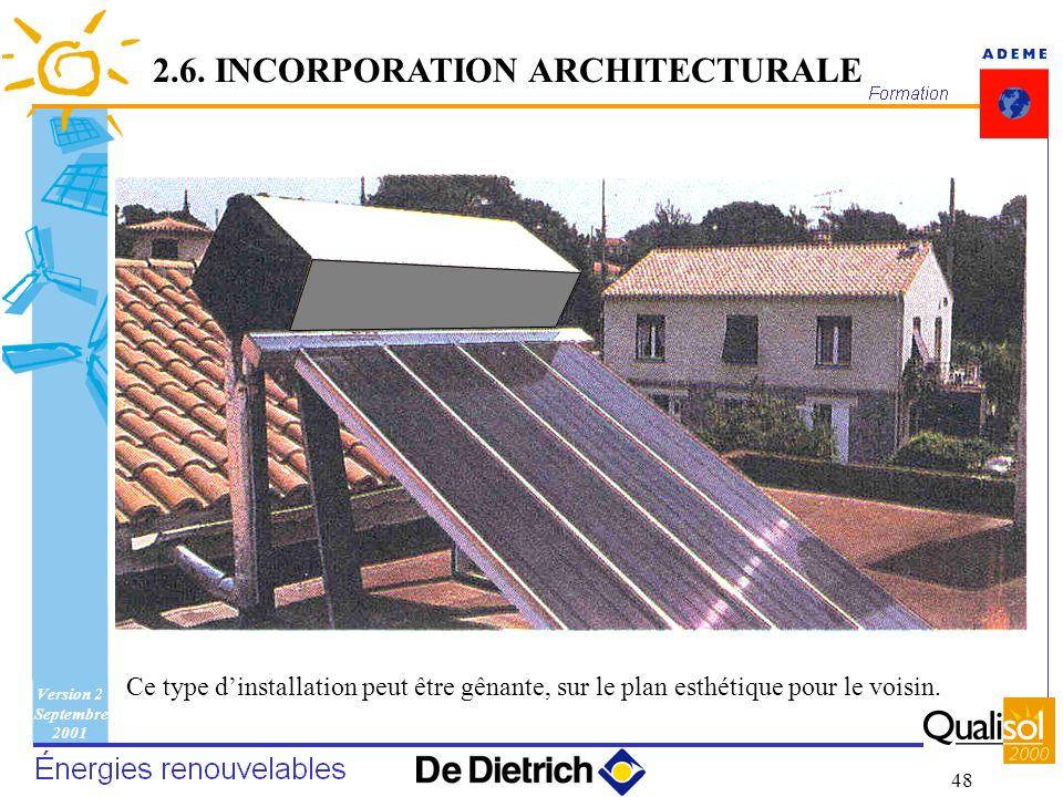 Version 2 Septembre 2001 48 Ce type dinstallation peut être gênante, sur le plan esthétique pour le voisin. 2.6. INCORPORATION ARCHITECTURALE