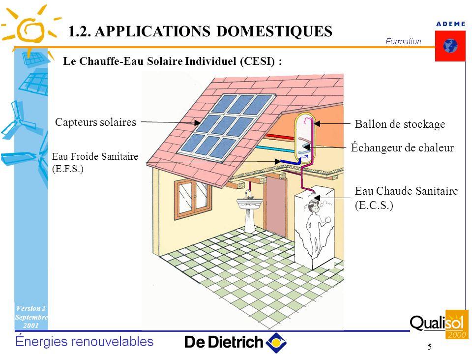 Version 2 Septembre 2001 5 Le Chauffe-Eau Solaire Individuel (CESI) : 1.2. APPLICATIONS DOMESTIQUES Capteurs solaires Ballon de stockage Échangeur de