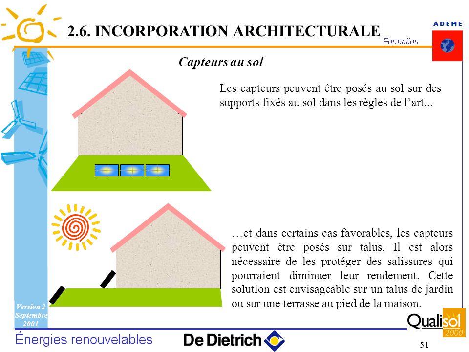 Version 2 Septembre 2001 51 Capteurs au sol Les capteurs peuvent être posés au sol sur des supports fixés au sol dans les règles de lart... …et dans c