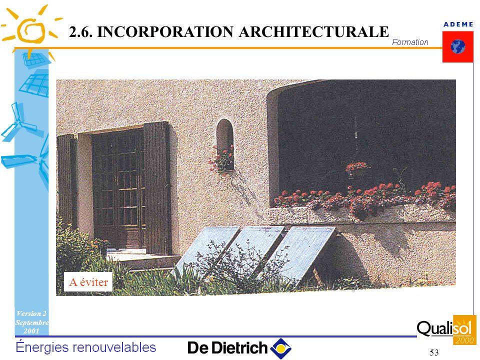 Version 2 Septembre 2001 53 A éviter 2.6. INCORPORATION ARCHITECTURALE