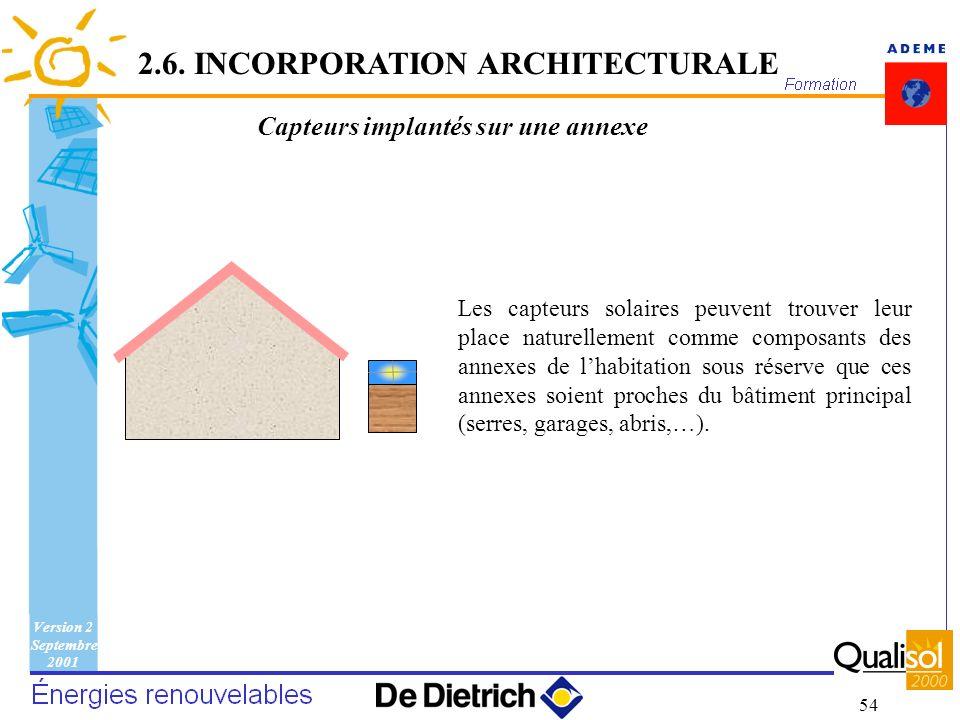 Version 2 Septembre 2001 54 Capteurs implantés sur une annexe Les capteurs solaires peuvent trouver leur place naturellement comme composants des anne