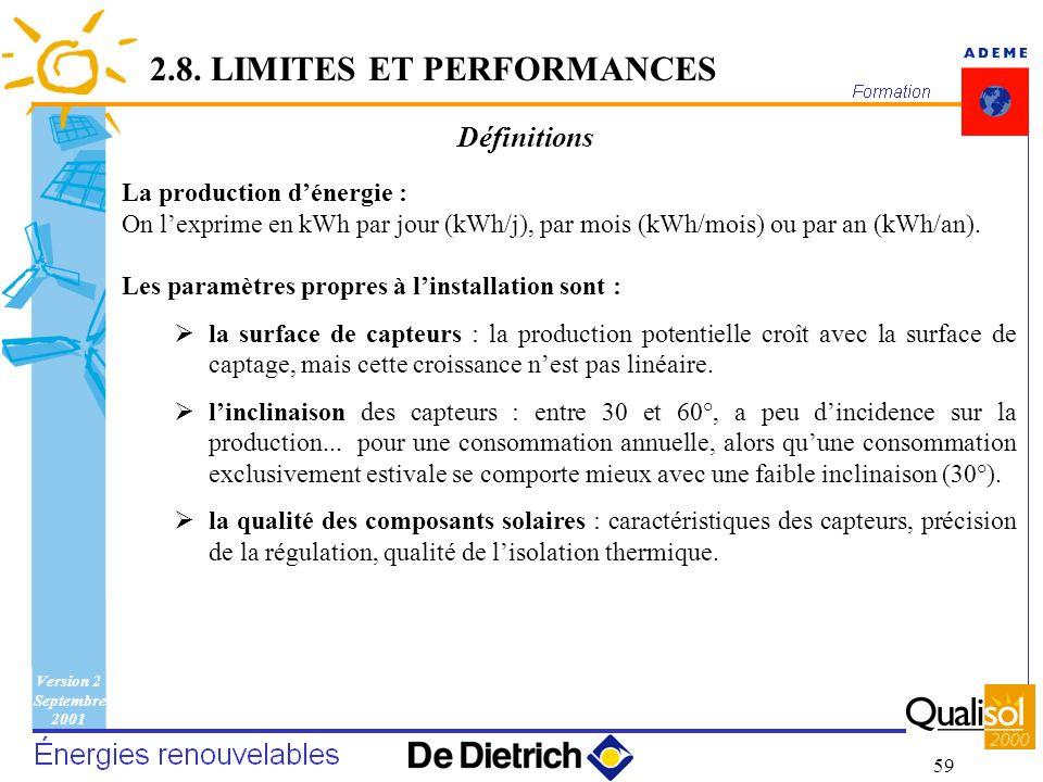 Version 2 Septembre 2001 59 La production dénergie : On lexprime en kWh par jour (kWh/j), par mois (kWh/mois) ou par an (kWh/an). Les paramètres propr