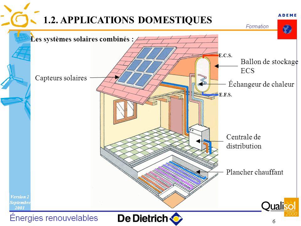 Version 2 Septembre 2001 6 E.C.S. E.F.S. 1.2. APPLICATIONS DOMESTIQUES Les systèmes solaires combinés : Capteurs solaires Ballon de stockage ECS Échan