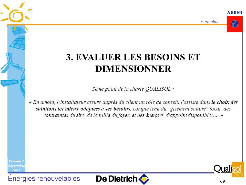 Version 2 Septembre 2001 69 3. EVALUER LES BESOINS ET DIMENSIONNER 3ème point de la charte QUALISOL : « En amont, linstallateur assure auprès du clien