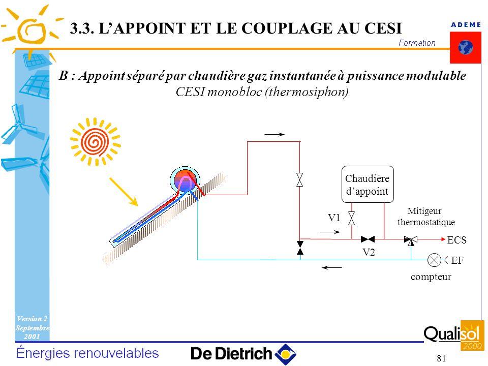 Version 2 Septembre 2001 81 EF Chaudière dappoint compteur ECS V1 Mitigeur thermostatique V2 B : Appoint séparé par chaudière gaz instantanée à puissa