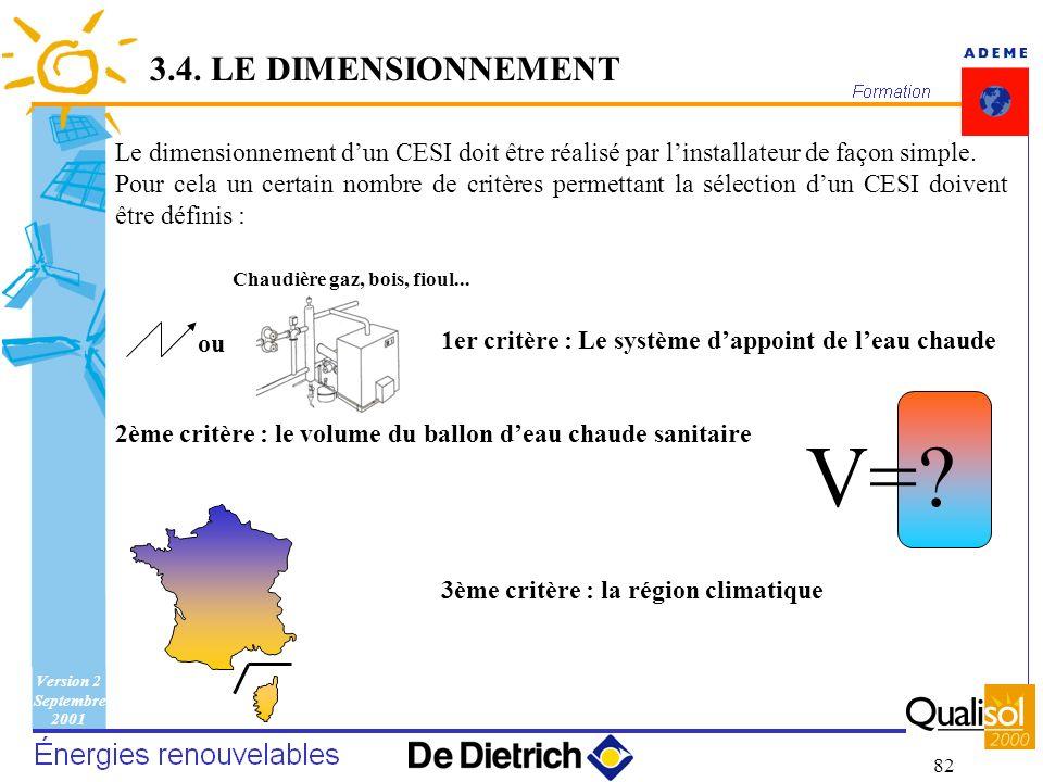 Version 2 Septembre 2001 82 V=? Le dimensionnement dun CESI doit être réalisé par linstallateur de façon simple. Pour cela un certain nombre de critèr