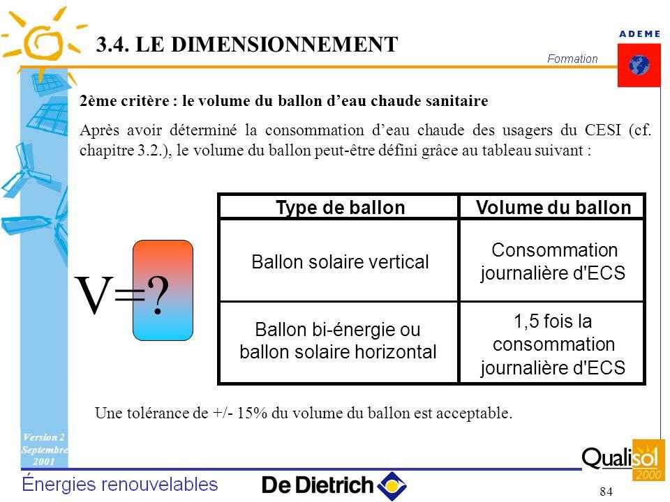 Version 2 Septembre 2001 84 2ème critère : le volume du ballon deau chaude sanitaire Après avoir déterminé la consommation deau chaude des usagers du