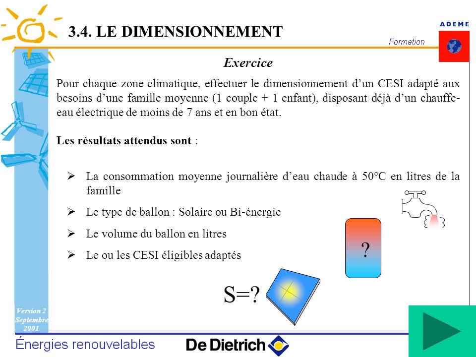 Version 2 Septembre 2001 94 Exercice Pour chaque zone climatique, effectuer le dimensionnement dun CESI adapté aux besoins dune famille moyenne (1 cou