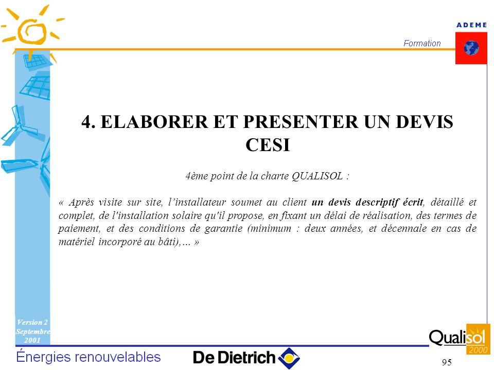 Version 2 Septembre 2001 95 4. ELABORER ET PRESENTER UN DEVIS CESI 4ème point de la charte QUALISOL : « Après visite sur site, linstallateur soumet au