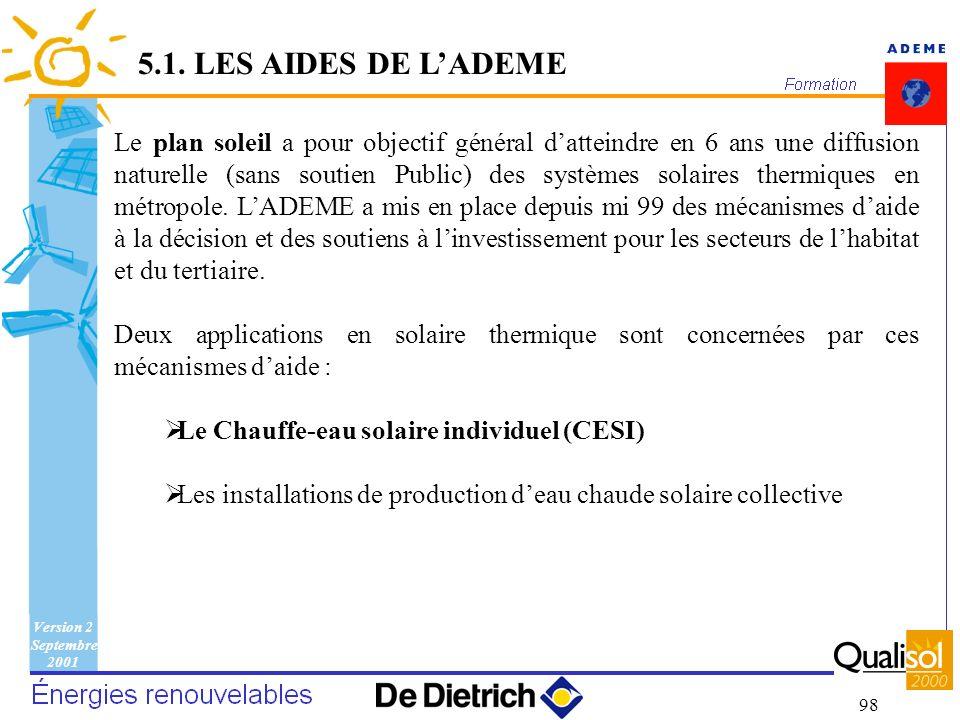 Version 2 Septembre 2001 98 Le plan soleil a pour objectif général datteindre en 6 ans une diffusion naturelle (sans soutien Public) des systèmes sola