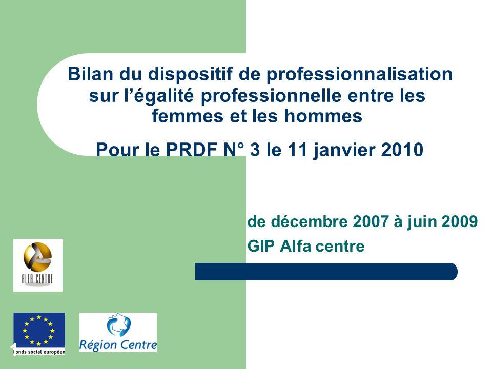 de décembre 2007 à juin 2009 GIP Alfa centre Bilan du dispositif de professionnalisation sur légalité professionnelle entre les femmes et les hommes P