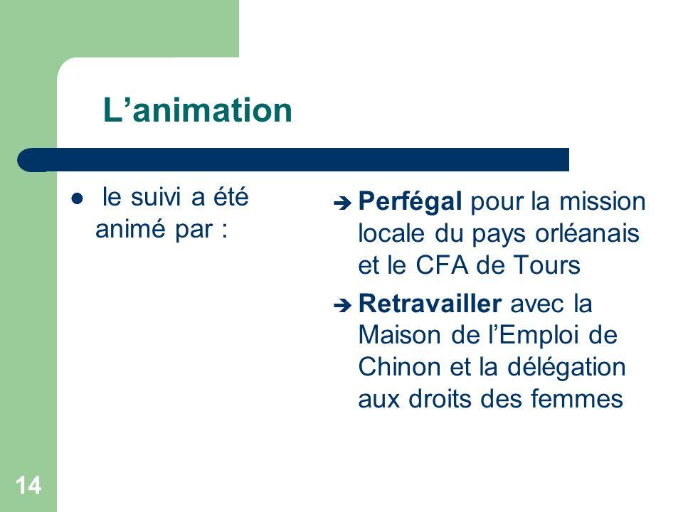 Lanimation le suivi a été animé par : Perfégal pour la mission locale du pays orléanais et le CFA de Tours Retravailler avec la Maison de lEmploi de C