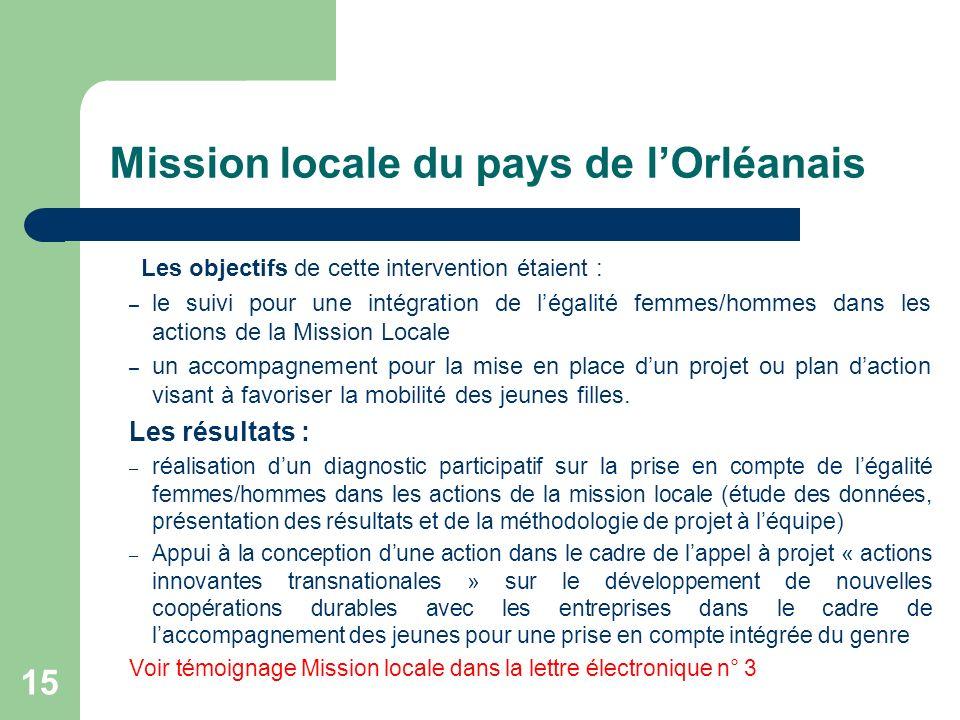 Mission locale du pays de lOrléanais Les objectifs de cette intervention étaient : – le suivi pour une intégration de légalité femmes/hommes dans les