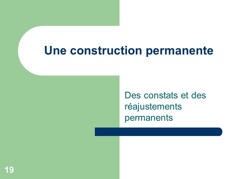 Une construction permanente Des constats et des réajustements permanents 19