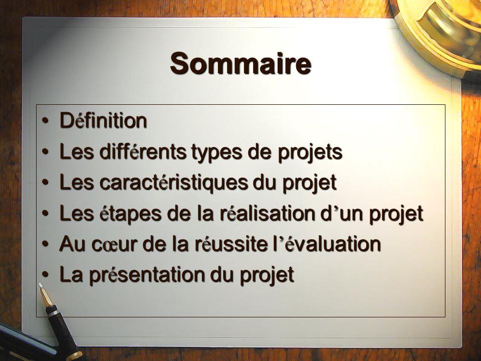 D é finition 3 niveaux de projets3 niveaux de projets –Individuels ou existentiels –d action – de soci é t é Les faux projetsLes faux projets –L intention –La pr é vision / pr é diction –Le protocole m é thodologique