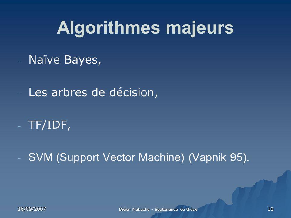 26/09/2007 Didier Nakache - Soutenance de thèse 10 Algorithmes majeurs - Naïve Bayes, - Les arbres de décision, - TF/IDF, - SVM (Support Vector Machin