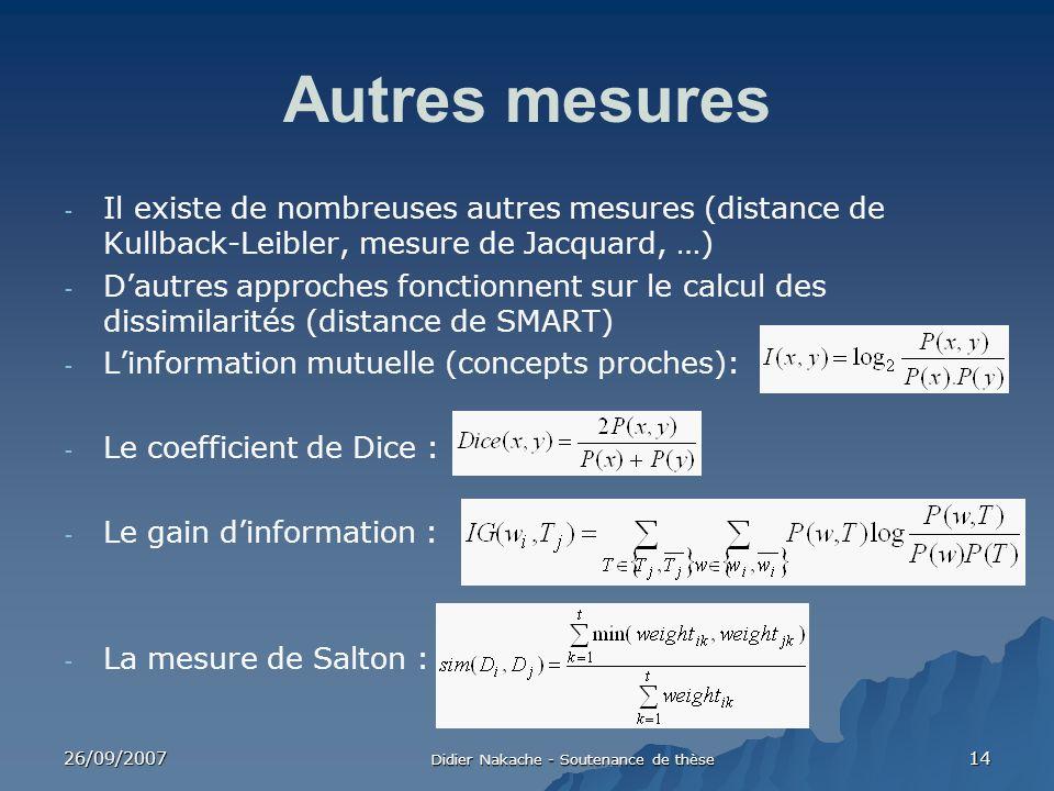 26/09/2007 Didier Nakache - Soutenance de thèse 14 Autres mesures - Il existe de nombreuses autres mesures (distance de Kullback-Leibler, mesure de Ja