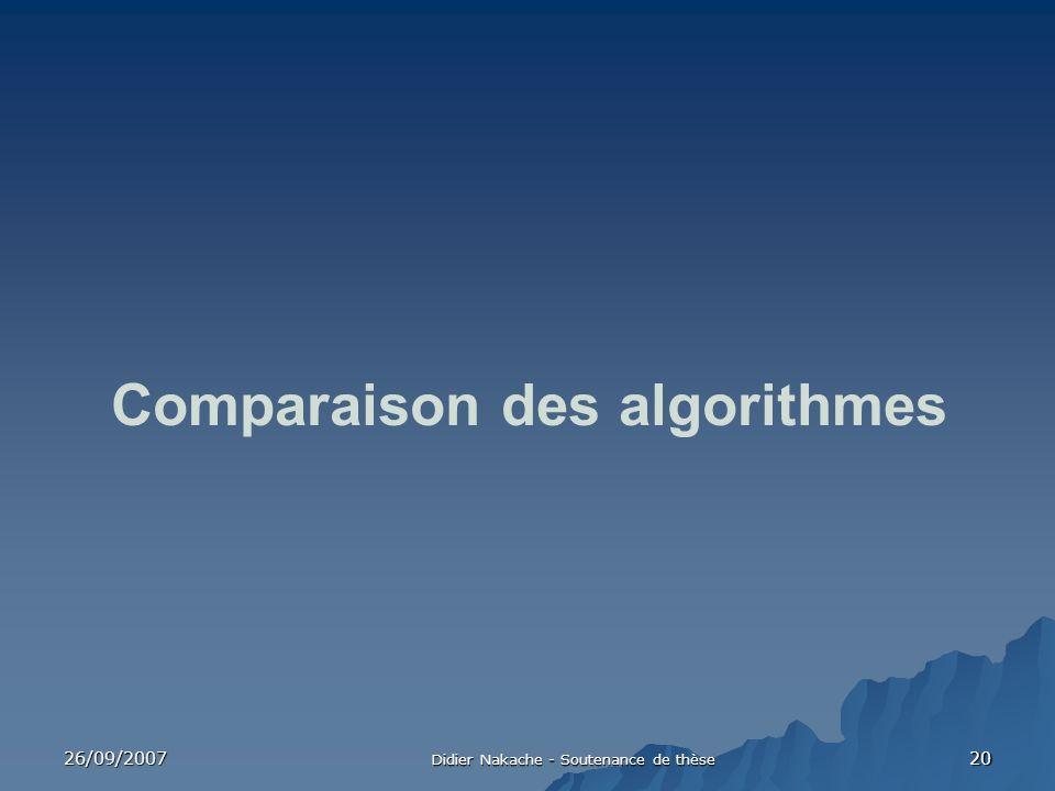 26/09/2007 Didier Nakache - Soutenance de thèse 20 Comparaison des algorithmes