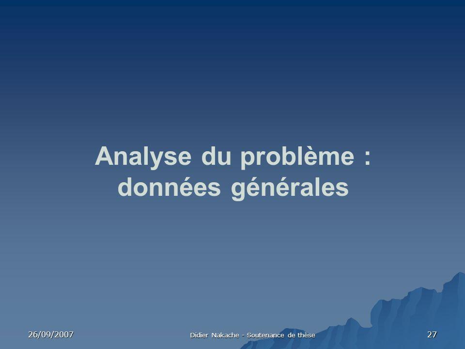 26/09/2007 Didier Nakache - Soutenance de thèse 27 Analyse du problème : données générales