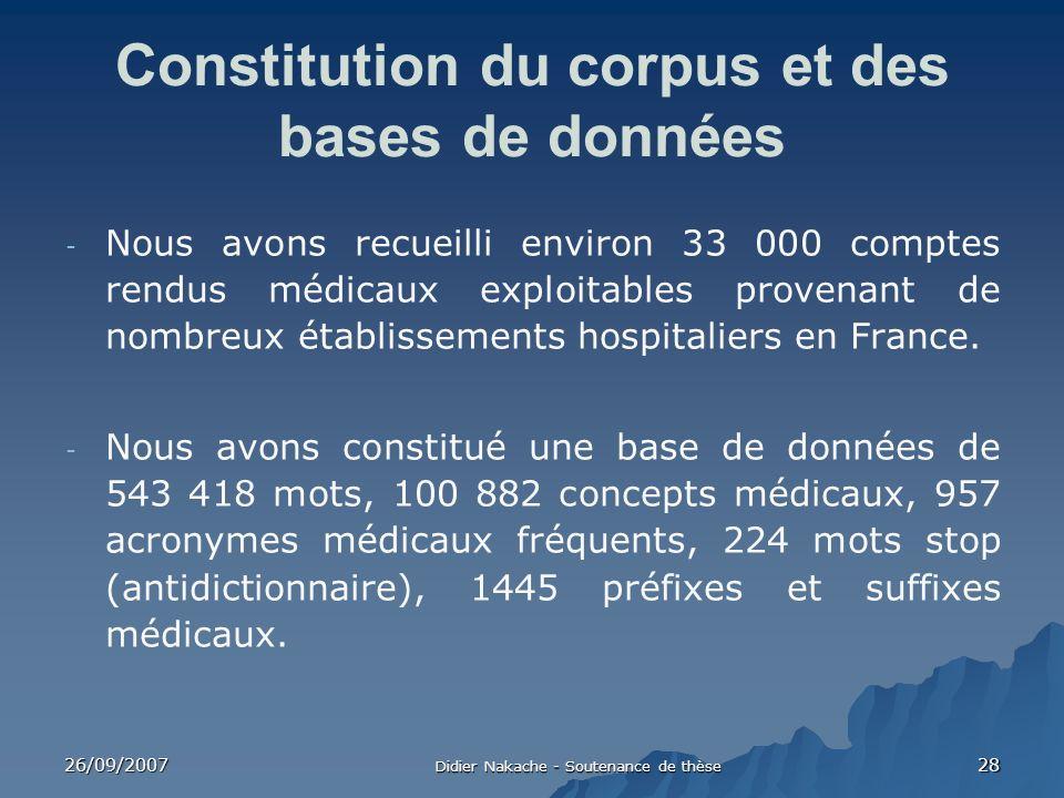 26/09/2007 Didier Nakache - Soutenance de thèse 28 Constitution du corpus et des bases de données - Nous avons recueilli environ 33 000 comptes rendus