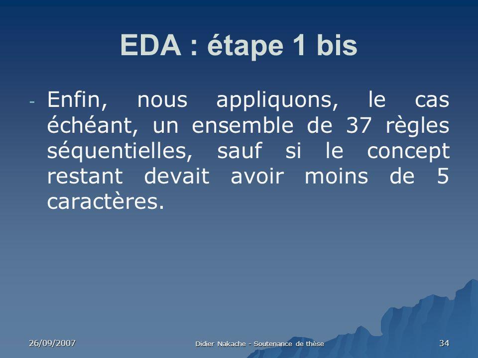 26/09/2007 Didier Nakache - Soutenance de thèse 34 EDA : étape 1 bis - Enfin, nous appliquons, le cas échéant, un ensemble de 37 règles séquentielles,
