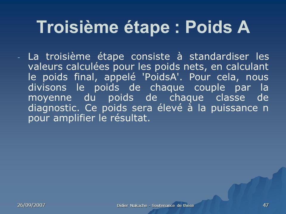 26/09/2007 Didier Nakache - Soutenance de thèse 47 Troisième étape : Poids A - La troisième étape consiste à standardiser les valeurs calculées pour l