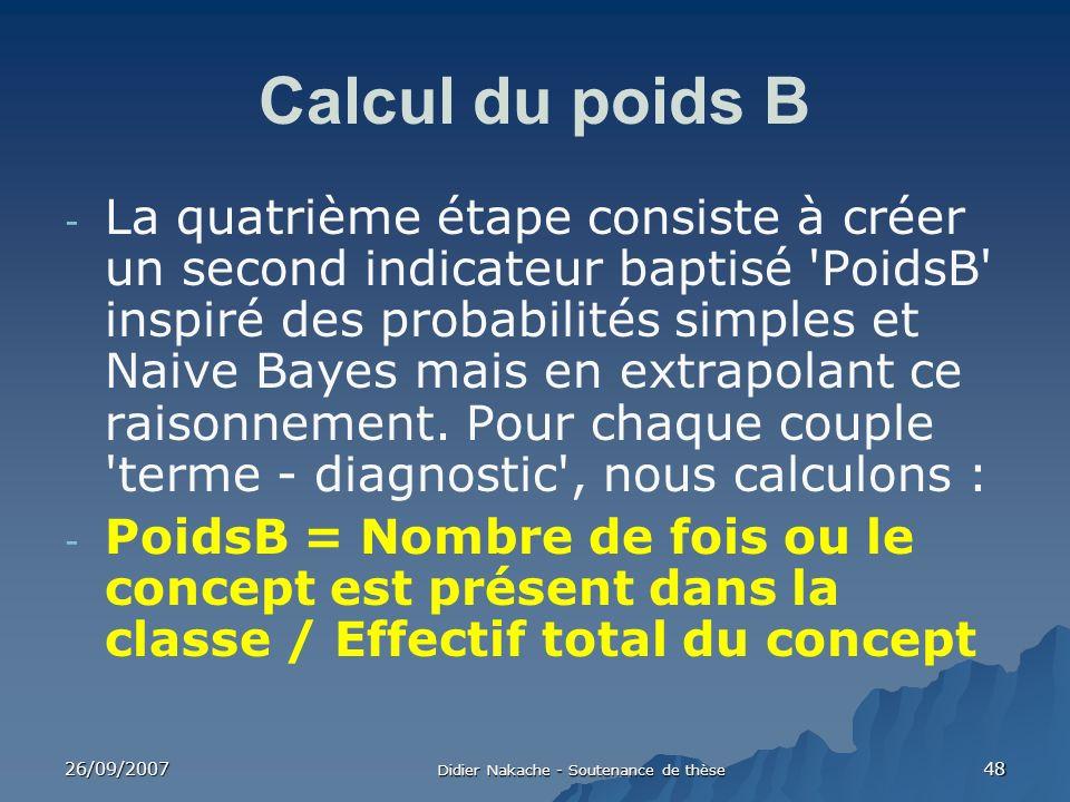 26/09/2007 Didier Nakache - Soutenance de thèse 48 Calcul du poids B - La quatrième étape consiste à créer un second indicateur baptisé 'PoidsB' inspi