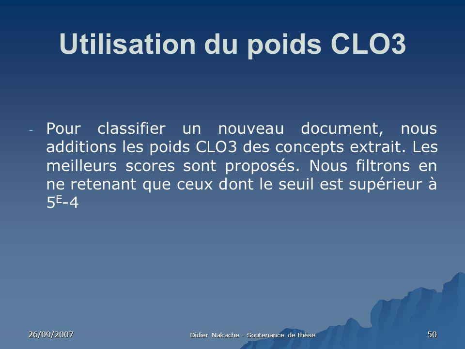 26/09/2007 Didier Nakache - Soutenance de thèse 50 Utilisation du poids CLO3 - Pour classifier un nouveau document, nous additions les poids CLO3 des
