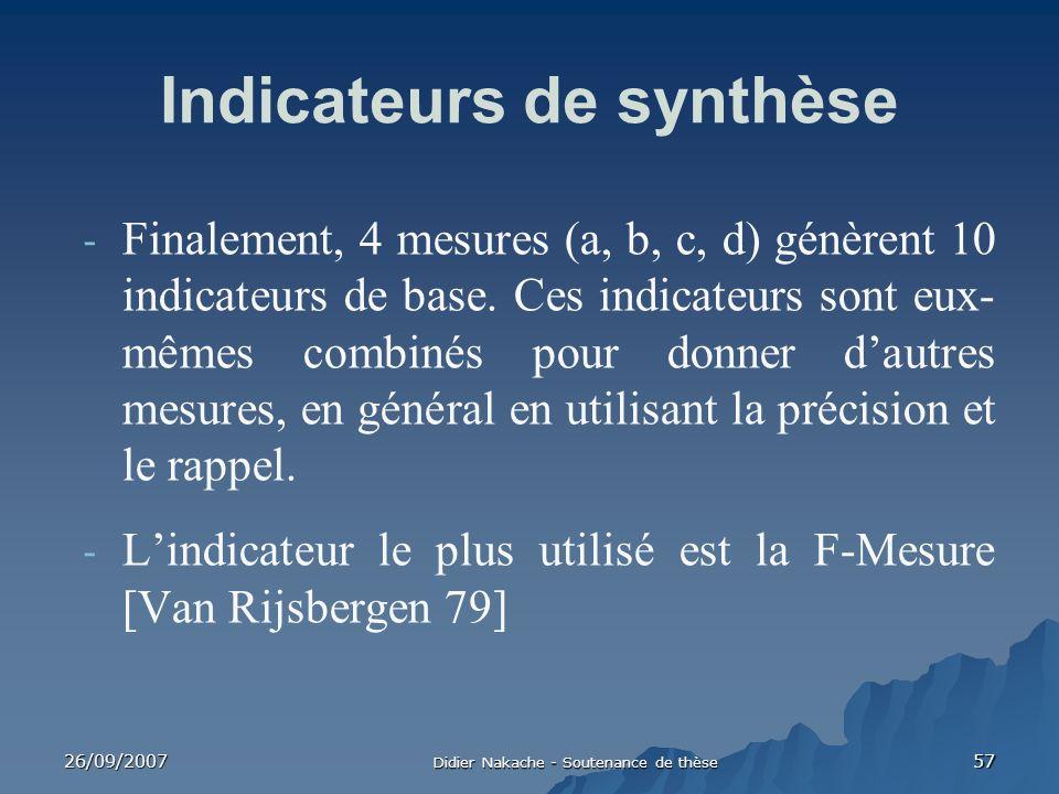 26/09/2007 Didier Nakache - Soutenance de thèse 57 - Finalement, 4 mesures (a, b, c, d) génèrent 10 indicateurs de base. Ces indicateurs sont eux- mêm