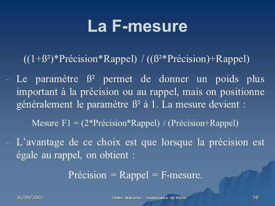 26/09/2007 Didier Nakache - Soutenance de thèse 58 La F-mesure ((1+ß²)*Précision*Rappel) / ((ß²*Précision)+Rappel) - Le paramètre ß² permet de donner