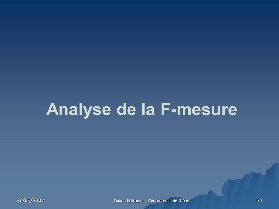 26/09/2007 Didier Nakache - Soutenance de thèse 59 Analyse de la F-mesure