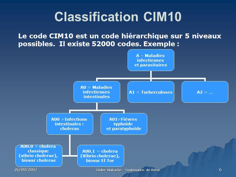 26/09/2007 Didier Nakache - Soutenance de thèse 6 Classification CIM10 Le code CIM10 est un code hiérarchique sur 5 niveaux possibles. Il existe 52000