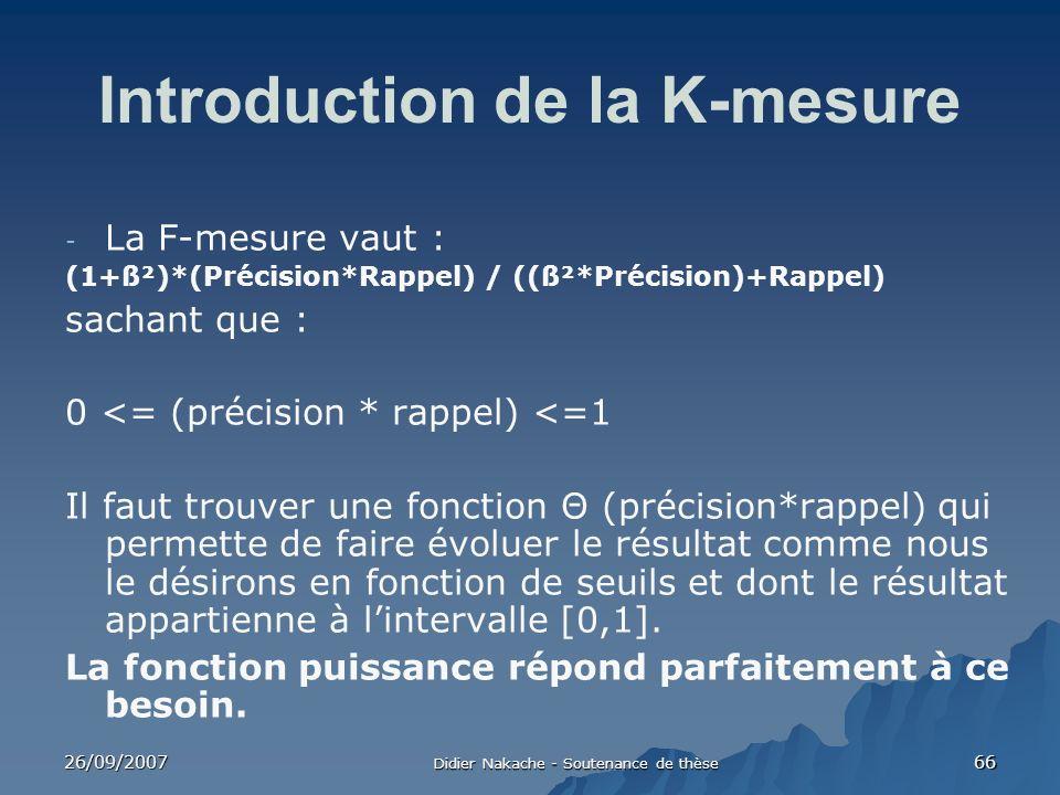 26/09/2007 Didier Nakache - Soutenance de thèse 66 Introduction de la K-mesure - La F-mesure vaut : (1+ß²)*(Précision*Rappel) / ((ß²*Précision)+Rappel
