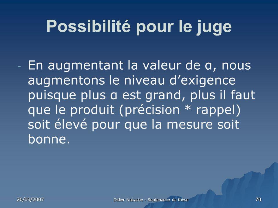 26/09/2007 Didier Nakache - Soutenance de thèse 70 Possibilité pour le juge - En augmentant la valeur de α, nous augmentons le niveau dexigence puisqu