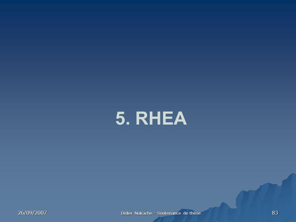26/09/2007 Didier Nakache - Soutenance de thèse 83 5. RHEA