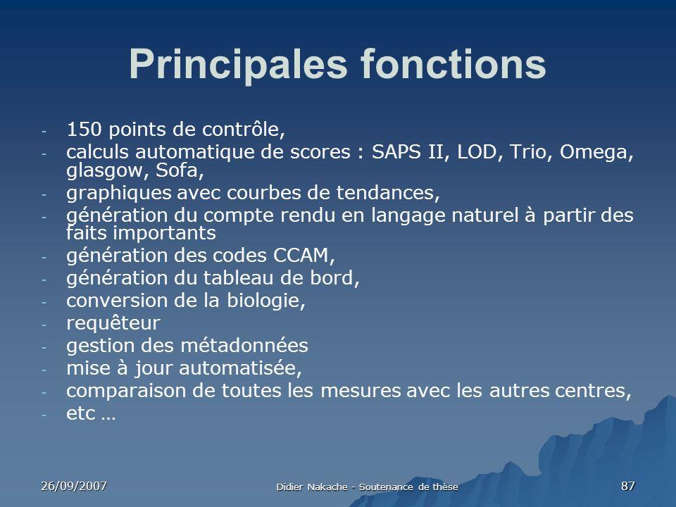 26/09/2007 Didier Nakache - Soutenance de thèse 87 Principales fonctions - 150 points de contrôle, - calculs automatique de scores : SAPS II, LOD, Tri