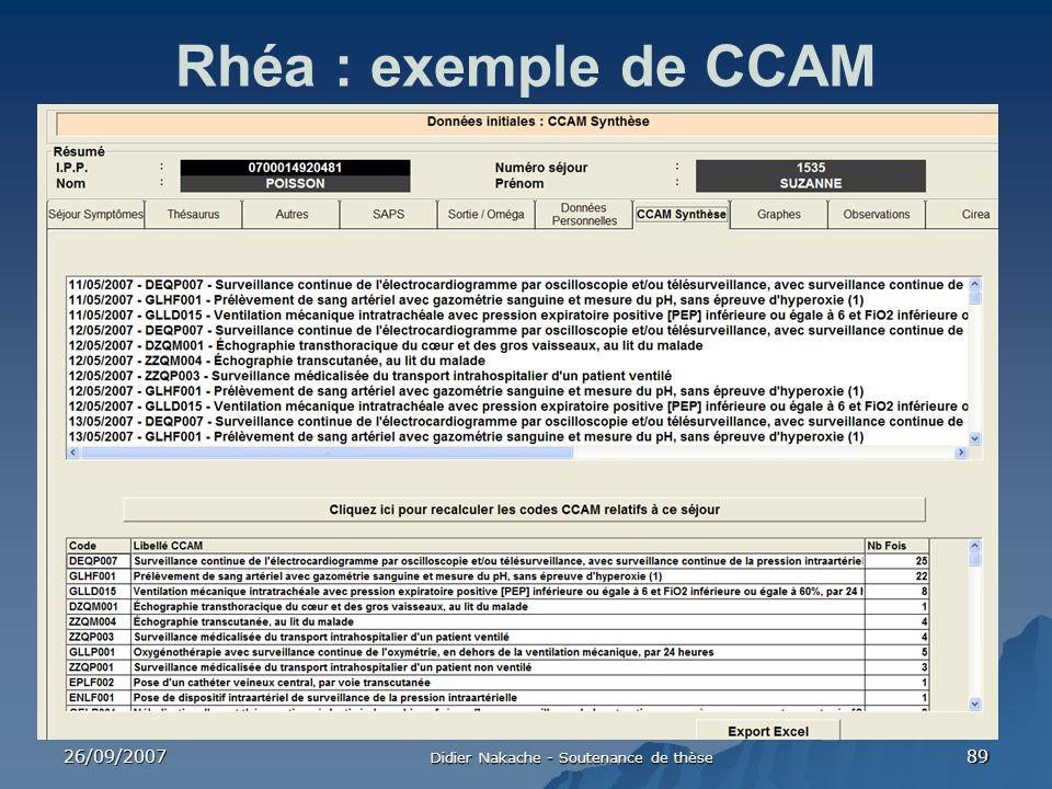 26/09/2007 Didier Nakache - Soutenance de thèse 89 Rhéa : exemple de CCAM