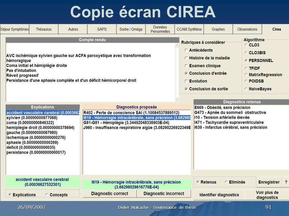 26/09/2007 Didier Nakache - Soutenance de thèse 91 Copie écran CIREA