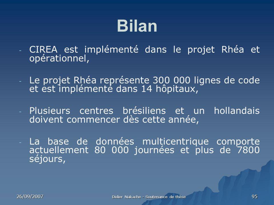 26/09/2007 Didier Nakache - Soutenance de thèse 95 Bilan - CIREA est implémenté dans le projet Rhéa et opérationnel, - Le projet Rhéa représente 300 0