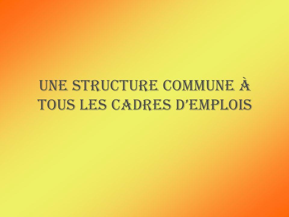 Une structure commune à tous les cadres demplois