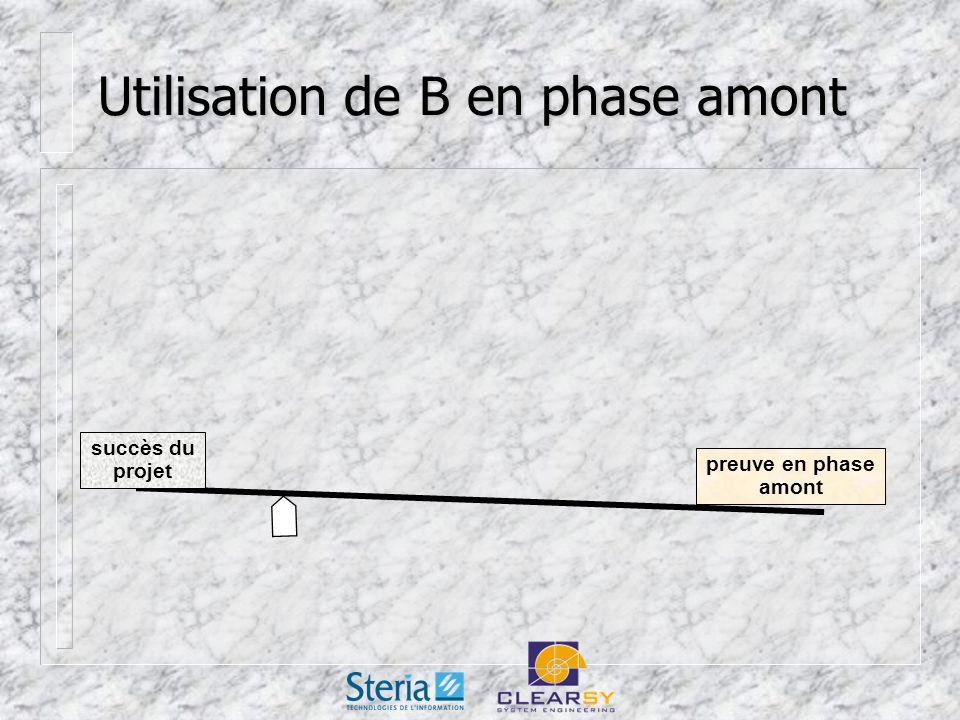 Utilisation de B en phase amont succès du projet preuve en phase amont