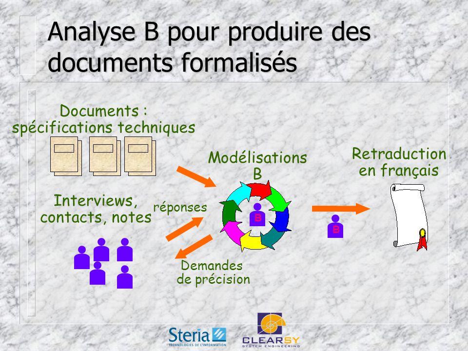 Analyse B pour produire des documents formalisés Documents : spécifications techniques STE Interviews, contacts, notes Modélisations B Retraduction en français B B Demandes de précision réponses