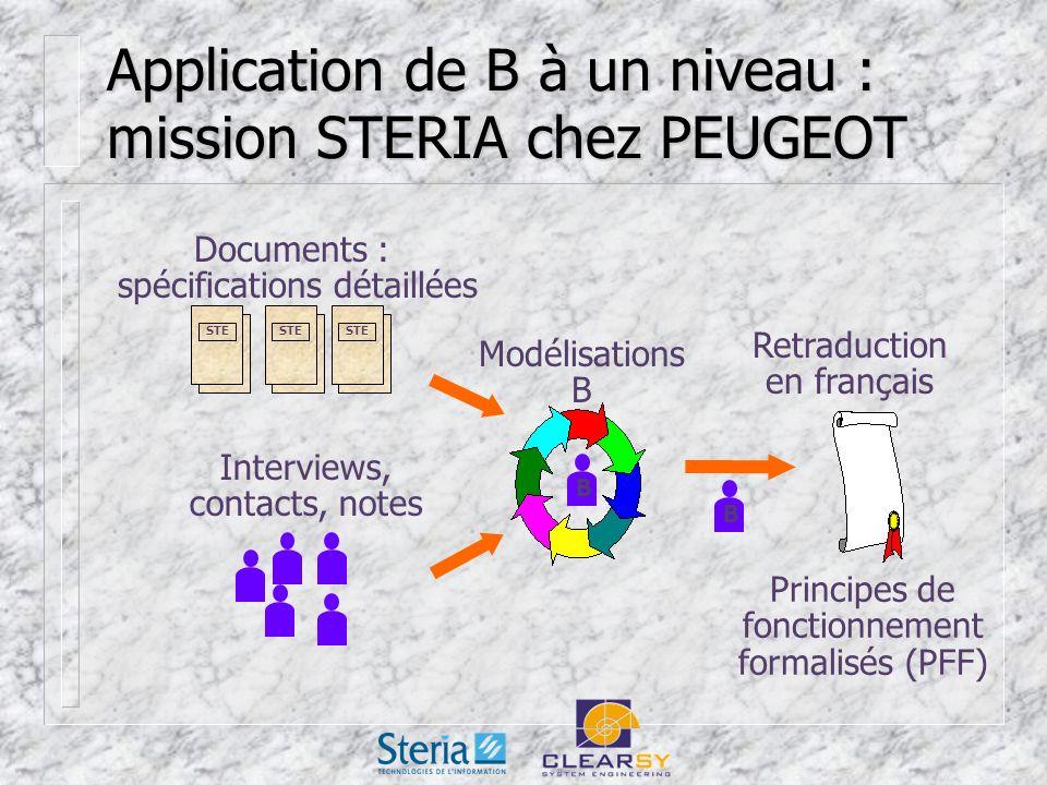 Application de B à un niveau : mission STERIA chez PEUGEOT Documents : spécifications détaillées STE Interviews, contacts, notes Modélisations B Retraduction en français B B Principes de fonctionnement formalisés (PFF)