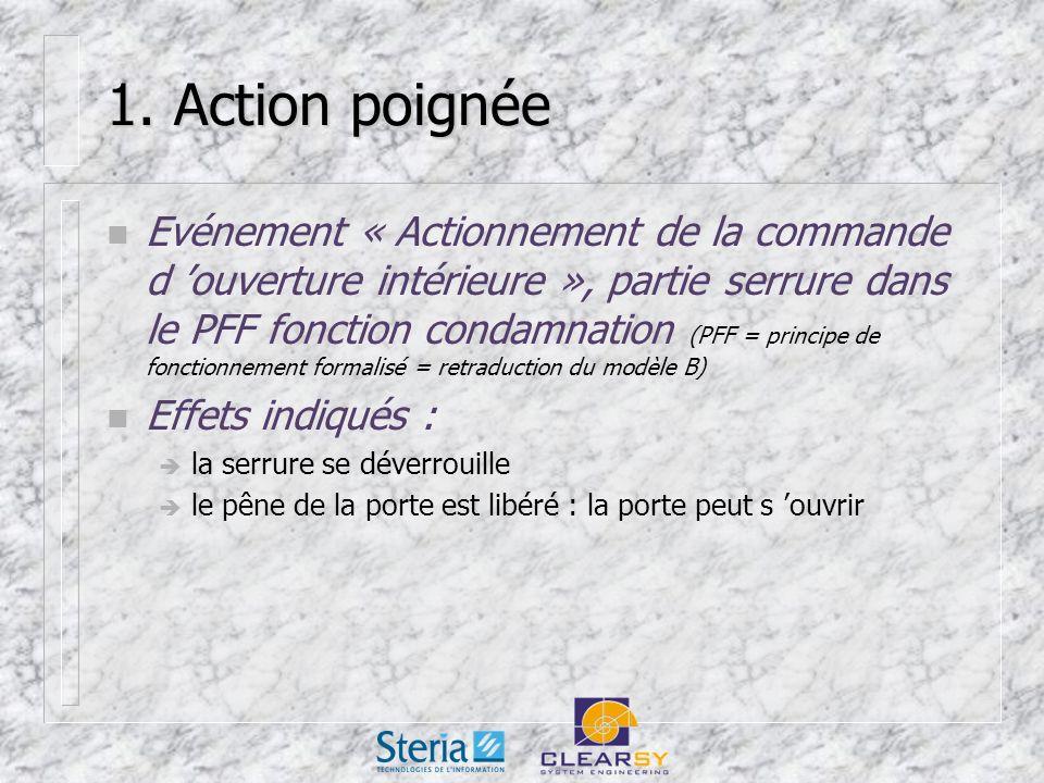 1. Action poignée n Evénement « Actionnement de la commande d ouverture intérieure », partie serrure dans le PFF fonction condamnation (PFF = principe