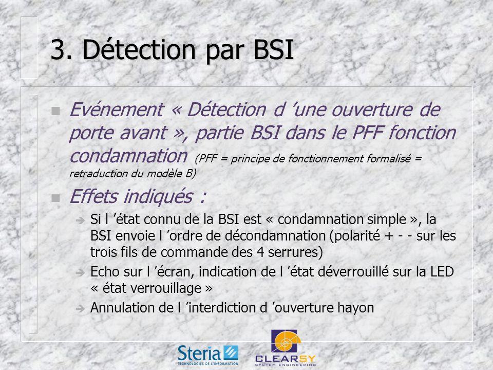 3. Détection par BSI n Evénement « Détection d une ouverture de porte avant », partie BSI dans le PFF fonction condamnation (PFF = principe de fonctio