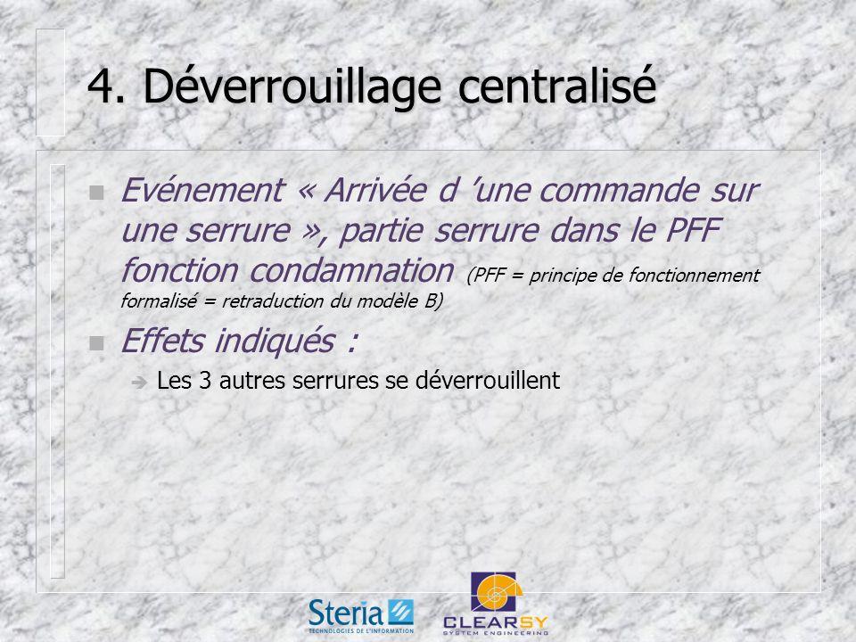 4. Déverrouillage centralisé n Evénement « Arrivée d une commande sur une serrure », partie serrure dans le PFF fonction condamnation (PFF = principe