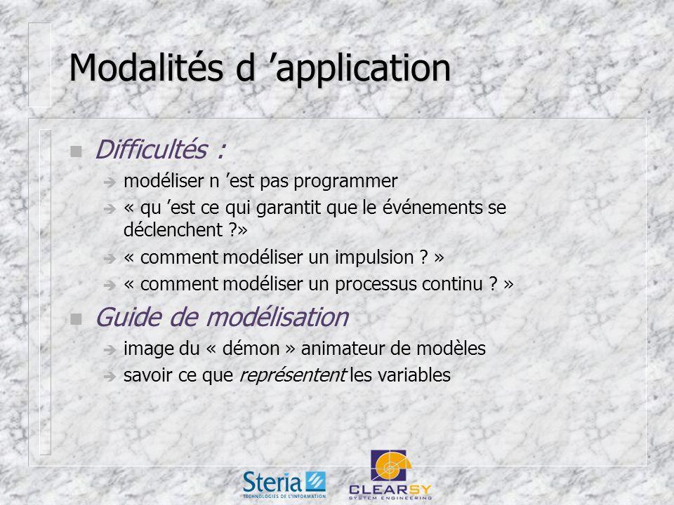Modalités d application n Difficultés : modéliser n est pas programmer « qu est ce qui garantit que le événements se déclenchent » « comment modéliser un impulsion .