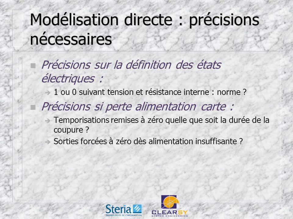 Modélisation directe : précisions nécessaires n Précisions sur la définition des états électriques : 1 ou 0 suivant tension et résistance interne : norme .